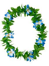 Green Leaf Leis Hawaiian Garland Blue Flowers Hula Hawaii Fancy Dress Necklace