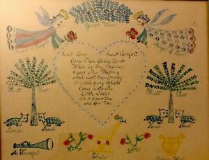 Rare Watercolor Presentation Fraktur W Angels, Flora, Lambs ~ Folk Art ~ C 1800s