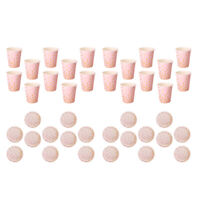 40x Pink Plates Cups Paper Decorations Shiny Disposable Christmas Party