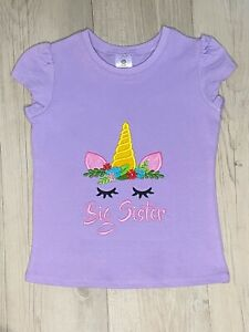Big Sister Girls Shirt Birthday Baby Gift Sibling
