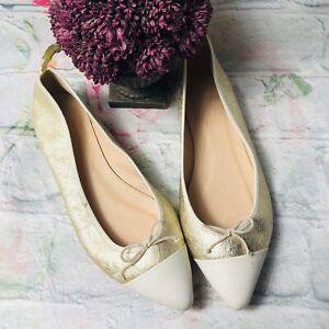 J Crew Women 9.5 Gold White Cap almond Toe Toe Casual Slip on Flats