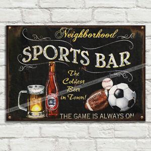 Sports Bar Beer Ale Vintage Alu Metal Tin Plaque Signs Man Cave Pub Club Cafe