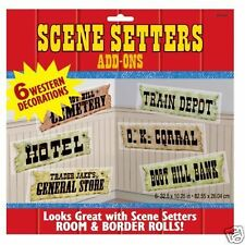 Pack 6 segnali occidentali SCENA SETTER DECORAZIONI Wild West Partito