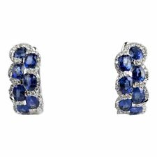 Valentine Special Blue Tanzanite Oval Simulated Diamonds 925 Silver Earrings