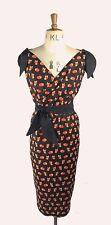 Baylis & Knight Black Tie Shoulder Fox Print WRAP Wiggle Pencil Dress