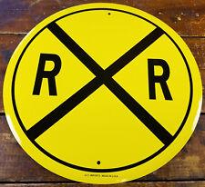 "RAILROAD CROSSING YELLOW CROSSED BLACK LINES 12"" ROUND METAL DISPLAY RR SIGN"