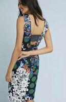 New Maeve Anthropologie Vanda Pencil Sheath Dress Sz 0 Women's Navy Floral Print