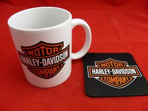 1 x Ceramic 11oz Coffee Tea Mug and Coaster Harley Davidson YOUR DESIGN OR LOGO