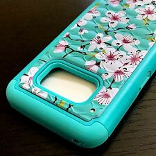 Samsung Galaxy S8 - HARD&SOFT HYBRID DIAMOND BLING PHONE CASE PINK BLUE FLOWERS