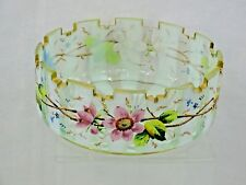 MAGNIFICENT ANTIQUE HAND CUT / PAINTED ENAMEL GLASS BOWL AMERICAN, CIRCA 1870'S