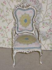 Bespaq Hand Painted Chair in Ivory & Pale Blue - Dollhouse Miniature (BQ-4425)