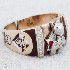 Mens Vintage Knights of Columbus 10k Gold Enamel Fraternal Society Ring Size