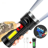 Rechargeable LED Torch Lamp  Batteries Flashlight Tactical Lights Black Portable