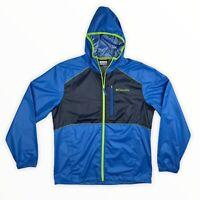 Columbia Thermal Coil Hooded Zip Windbreaker Jacket Size M Blue