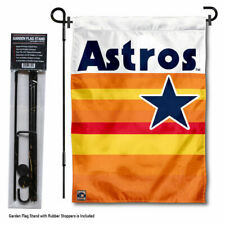 Houston Astros Throwback Rainbow Garden Flag and Pole Yard Stand