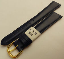 Made in France Navy Blue Genuine Leather 14mm Watch Band Gold Tone Buckle $14.95