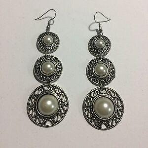 Women's Luxury Three Oval Long Drop White Pearl Pendant Earrings Jewellery UK