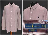 Mens Ralph Lauren Cotton Stretch Shirt Striped Long Sleeve White Red XXL / 2XL