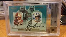 2000 Donruss Prefered Pen Pals Jerry Rice Barry Sanders Dual Auto BGS 9 Auto 10