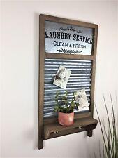 Industrial Chic Style Wood Metal Washboard Wall Shelf Memo Notice board Shabby