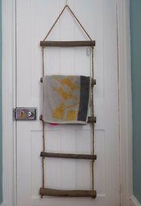 New Shabby Chic ROPE Ladder Rustic Wood Bath Storage TOWEL Hanging Rail Rack