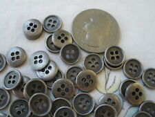 "TINY 9MM metal shirt buttons 4-hole rim Antique silver pewter color 48p 16L 3/8"""