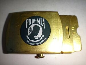 POW-MIA NOT FORGOTTEN Raised Insignia Stainless Steel Belt Buckle, By U.S. C E