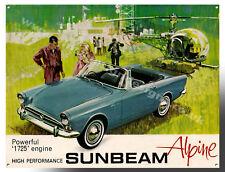 "SUNBEAM ALPINE ADVERTISMENT METAL SIGN. 12"" X 16"" CLASSIC SUNBEAM CARS"