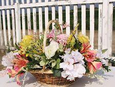 Azaleas Roses Alstromeria Calla Lily Table Centerpiece Flowers Basket Bouquet