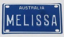 MELISSA NOVELTY NAME MINI TIN AUSTRALIAN LICENSE NUMBER PLATE