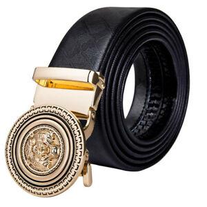 Mens Leather Belt Gold Automatic Buckle Black Designer Belt Strap Waistband