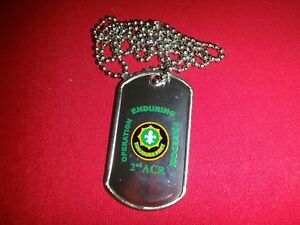 US Army 2nd Armored Cavalry Rgt OPERATION ENDURING FREEDOM Dog Tag + Ball Chain