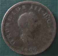 BRITAIN 1806 One Half Penny King I I I Cent 1 Coin LOW SHIPPING