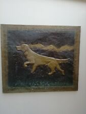 More details for great unusual vintage / antique large embossed copper plaque of retriever