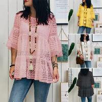 ZANZEA Women Long Bell Sleeve Shirt Tops Round Neck Lace Crochet Blouse Plus