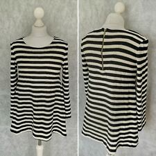Zara Knit Womens Black and White/Cream Jumper Size S Small A-line Zip Back