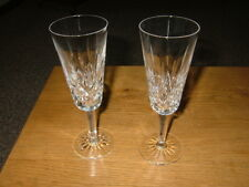 "Signed Waterford Crystal Champagne Flutes, 7 1/4"", Set of 2, Mint"