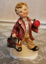 Vintage Lefton September Porcelain School Boy Birthday Figurine 1960'S