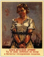 Ww2 Russian Soviet Color Poster Young Woman Propaganda Full Color, Lqqk Buy Now