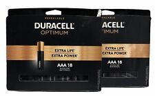 NEW Duracell Optimum AAA Batteries Extra Life Alkaline AAA 18 x 2 packs = 36