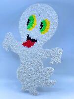 "Vintage Halloween POPCORN GHOST Happy Decoration Melted Plastic 18 1/2"""