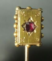 Antique Victorian 15C/15K Gold Stick Pin Brooch w / natural ruby