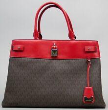 Michael Kors Signature Gramercy Brown/Bright Red Large Logo Satchel Handbag NWT