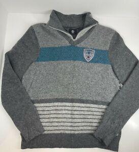Bogner men's wool jumper pull over with neck zip grey S-M Small - Medium