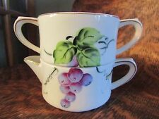 VINTAGE J.B. BENSON HAND PAINTED WITH GRAPES STACKABLE CREAMER AND SUGAR