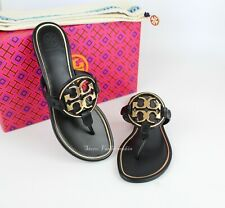 NEW Tory Burch Miller Metal Logo Thong Leather Sandals, Perfect Black/Gold, US 8