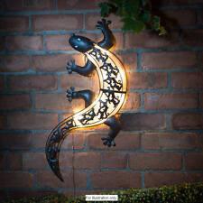 Solar Powered Bright LED Light Gecko Metal Garden Decoration Wall Art