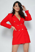 Womens Double Breasted Gold Button Front Military Style Blazer Coat Jacket