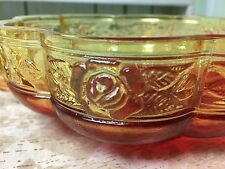 """Vintage Amberina Glass Scalloped Open Candy Dish Bowl Red Amber Handles 6 5/8""""D"""