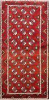 Vintage Geometric Turkoman Oriental Area Rug Hand-Knotted Wool Carpet 4x7 ft